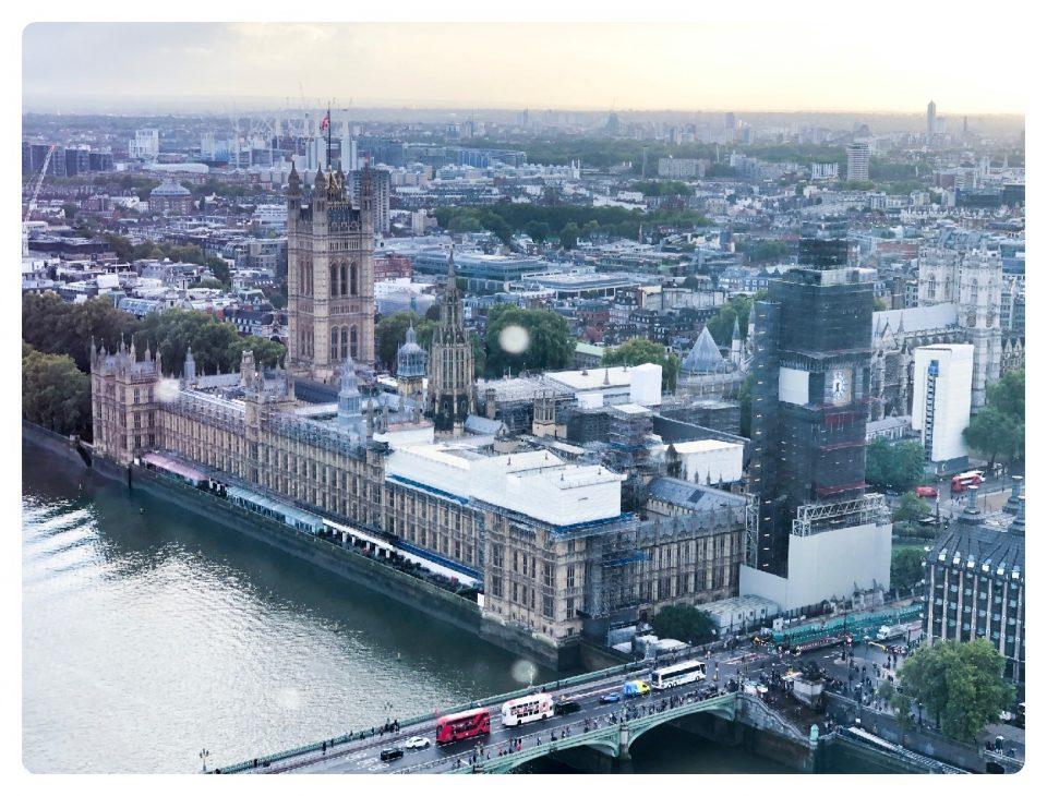 Blick vom London Eye auf Big Ben