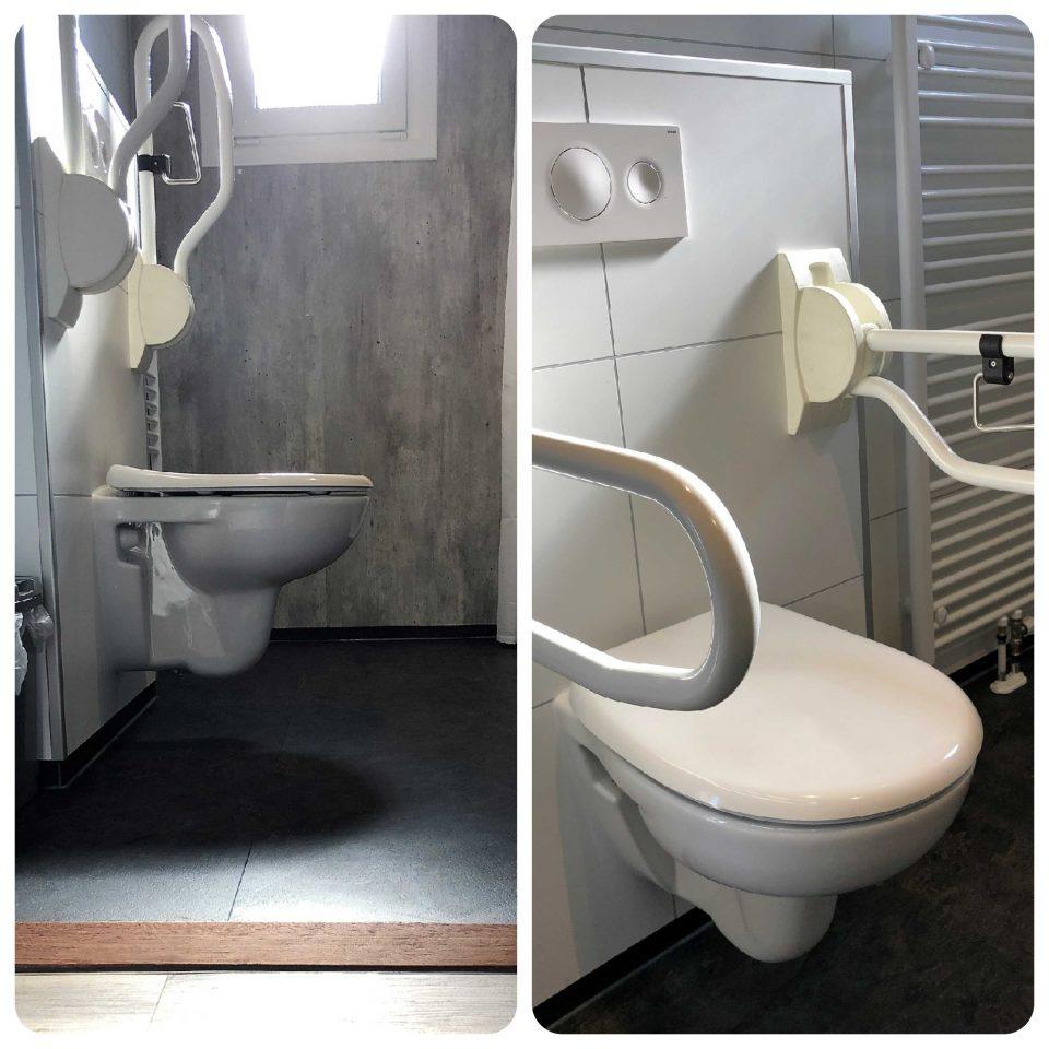 Toilette mit klappbaren Handgriffen