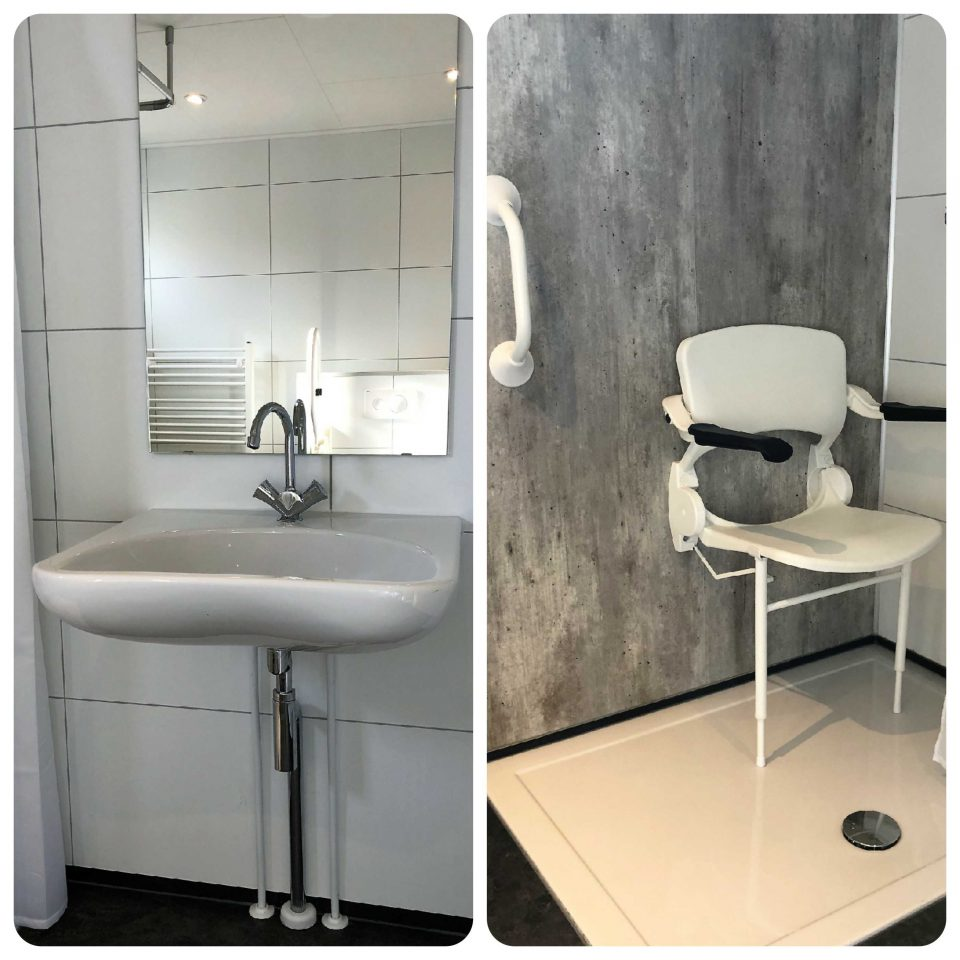 Unterfahrbares Waschbecken und Dusche mit Sitz